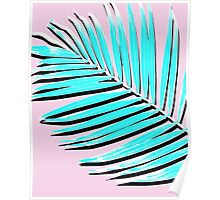 Palm print, Tropical Plant, Palm leaf, Blue, Pink,  Minimal, Tropical art, Modern Poster