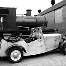 Old car and old steam tender by Remo Kurka