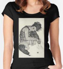Egon Schiele - Zeichnungen I. 1917  Expressionism Woman Portrait Women's Fitted Scoop T-Shirt