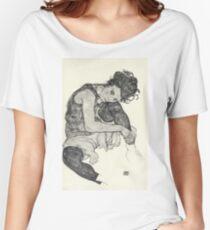 Egon Schiele - Zeichnungen I. 1917  Expressionism Woman Portrait Women's Relaxed Fit T-Shirt
