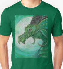 Green illustrated Oil pastel fantasy dragon  Unisex T-Shirt