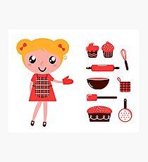 Retro baking girl - Vector cartoon Illustration Photographic Print