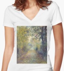 Auguste Renoir - In the Woods  1880 Impressionism  Landscape Women's Fitted V-Neck T-Shirt
