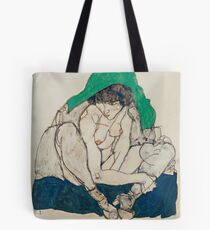 Egon Schiele - Crouching Woman with Green Headscarf 1914  Fashion Sexy  Woman Tote Bag