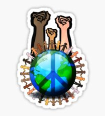 Unity And Peace - Raised Fists! Sticker