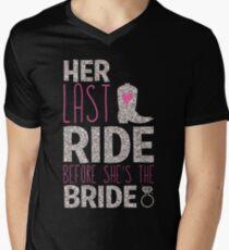 Women's Bachelorette Party Country Her Last Ride Bride T-Shirts Men's V-Neck T-Shirt