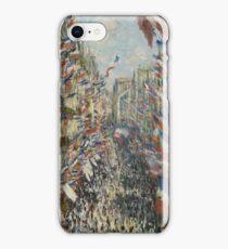 Claude Monet - The Rue Montorgueil in Paris. Impressionism iPhone Case/Skin