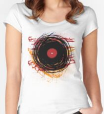 Vinyl Record Retro Grunge with Paint and Scratches - Music DJ! Women's Fitted Scoop T-Shirt