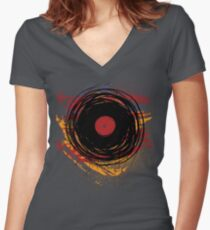 Vinyl Record Retro Grunge with Paint and Scratches - Music DJ! Women's Fitted V-Neck T-Shirt