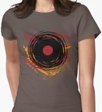 Vinyl Record Retro Grunge with Paint and Scratches - Music DJ! Women's Fitted T-Shirt