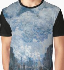 Claude Monet - The Gare Saint-Lazare Arrival of a Train , Impressionism Graphic T-Shirt