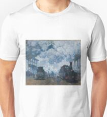 Claude Monet - The Gare Saint-Lazare Arrival of a Train , Impressionism Unisex T-Shirt