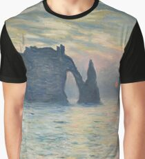 Claude Monet - The Cliff, Étretat,  Sunset  Impressionism Graphic T-Shirt