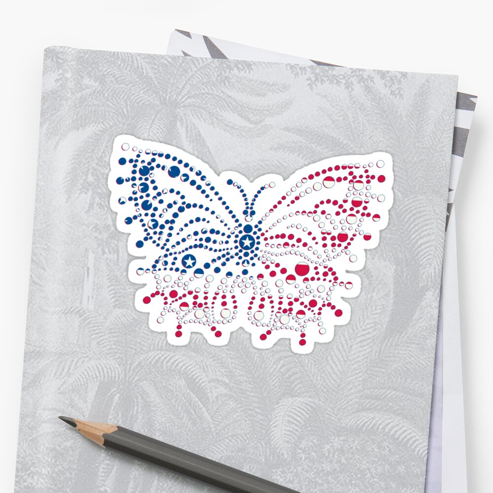 American Patriotic Dots Butterfly Flag  by CroDesign