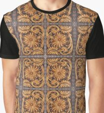 Tooled Leather Look, Brown Floral Design Graphic T-Shirt