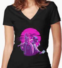 Jacket and Biker Women's Fitted V-Neck T-Shirt