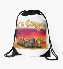 Turtle and Tortoise Conga Line on the Beach at Sunset Drawstring Bag