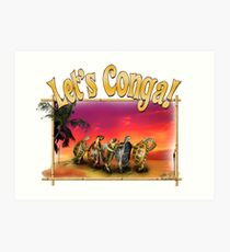 Turtle and Tortoise Conga Line on the Beach at Sunset Art Print