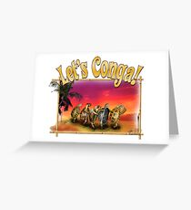 Turtle and Tortoise Conga Line on the Beach at Sunset Greeting Card