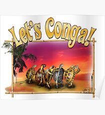 Turtle and Tortoise Conga Line on the Beach at Sunset Poster