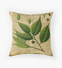 Botanical print on old book page Throw Pillow