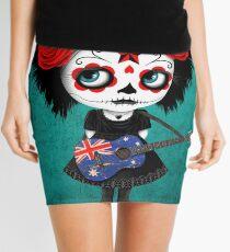 Sugar Skull Girl Playing Australian Flag Guitar Mini Skirt