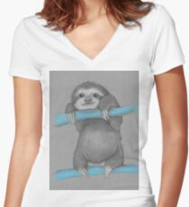 Cute adorable sloth illustration oil pastel Women's Fitted V-Neck T-Shirt
