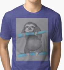 Cute adorable sloth illustration oil pastel Tri-blend T-Shirt