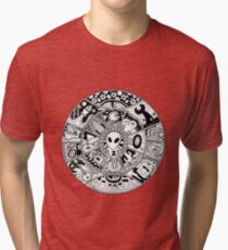 Alien Mandala Black and White Tri-blend T-Shirt