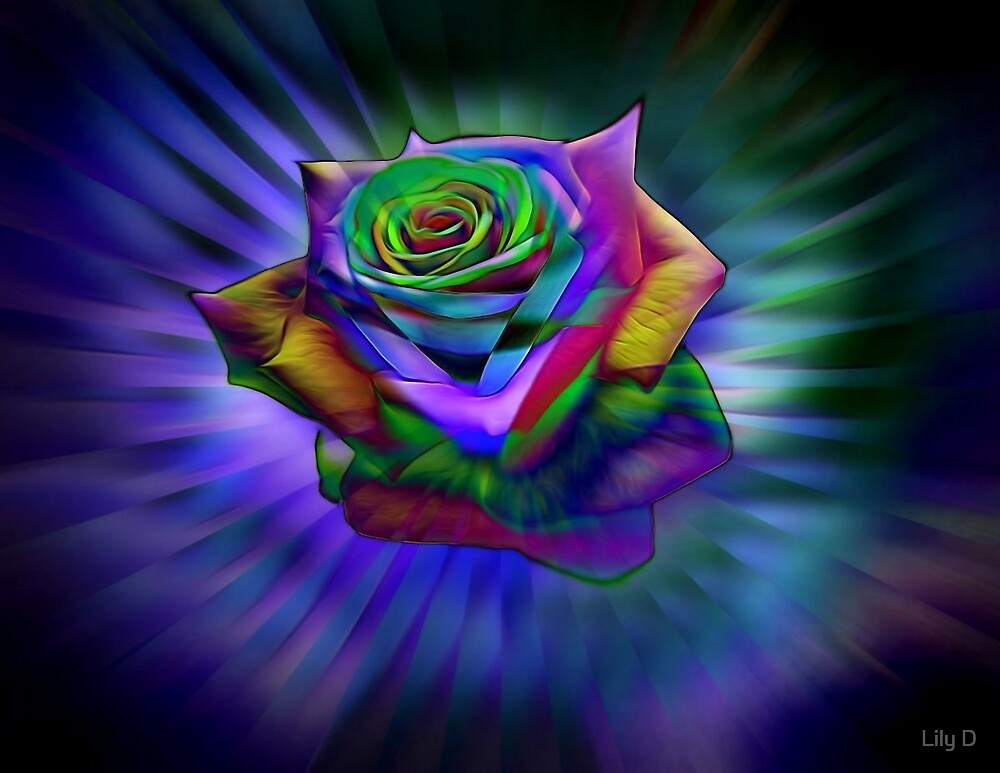 Glowing Rainbow Rose by Art Dream Studio