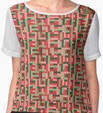 Line Block Pattern Women's Chiffon Top