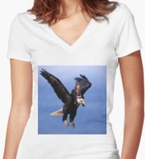 Trump Riding Eagle Women's Fitted V-Neck T-Shirt