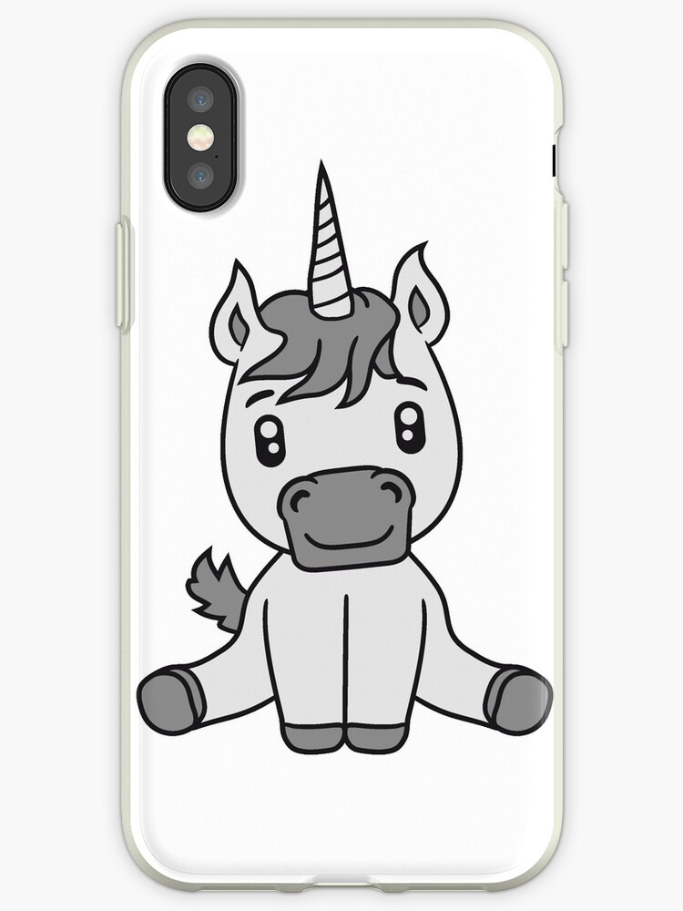 Poulain Licorne Mignon Licorne Douce Assis Cheval Poney De Dessin Animé Comique Bébé Fille Enfant Pferdchen Kawaii Coque Et Skin Iphone By