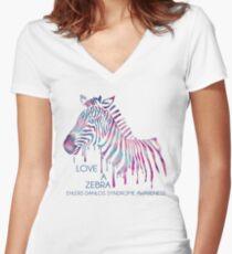 I Love A Zebra (EDS Awareness) Women's Fitted V-Neck T-Shirt