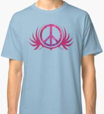 Peace Sign with Grunge Texture and Wings Classic T-Shirt