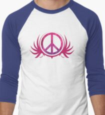 Peace Sign with Grunge Texture and Wings Men's Baseball ¾ T-Shirt