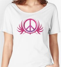 Peace Sign with Grunge Texture and Wings Women's Relaxed Fit T-Shirt