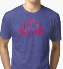 Peace Sign with Grunge Texture and Wings Tri-blend T-Shirt