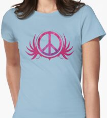 Peace Sign with Grunge Texture and Wings Women's Fitted T-Shirt