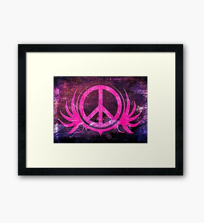 Peace Sign with Grunge Texture and Wings Framed Print