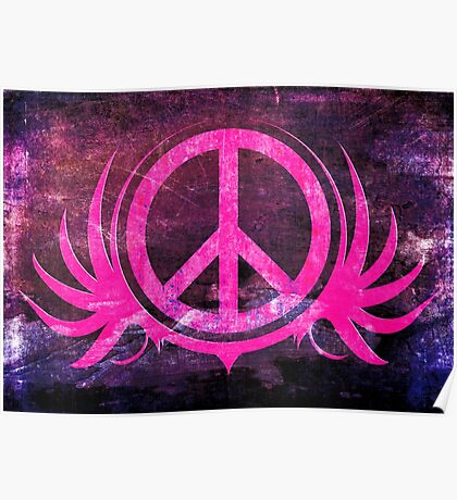 Peace Sign with Grunge Texture and Wings Poster