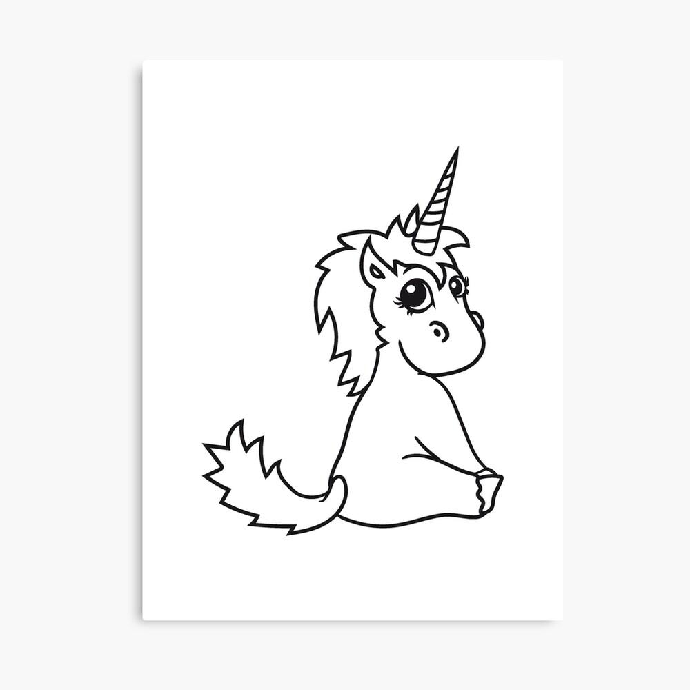 Poulain Licorne Licorne Douce Cheval Mignon De Poney De Dessin Animé Comique Assis Bébé Fille Enfant Pferdchen Kawaii Impression Sur Toile