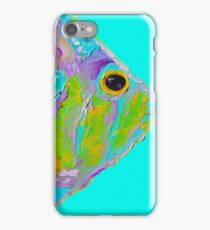 Tropical Fish painting on turquoise background iPhone Case/Skin