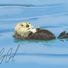Sea Otter with Shell drawn on iPad by Ray Cassel