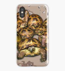 Greek Tortoise Group - Desert Camo Background iPhone Case