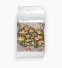 Greek Tortoise Group - Desert Camo Background Duvet Cover