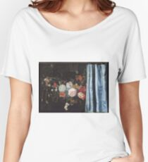 Adriaen Van Der Spelt  - Still Life With A Flower Garland And A Curtain 1658. Still life with flowers: still life with flowers, flowers, blossom, nature, botanical, floral , flora, wonderful flowers Women's Relaxed Fit T-Shirt