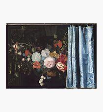Adriaen Van Der Spelt  - Still Life With A Flower Garland And A Curtain 1658. Still life with flowers: still life with flowers, flowers, blossom, nature, botanical, floral , flora, wonderful flowers Photographic Print