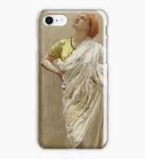 Albert Joseph Moore - Study For Birds. Woman portrait: sensual woman, beautiful dress, female style, charm , delicate , diaphanous,, tissue, garments, figure , draped, erotic pose iPhone Case/Skin
