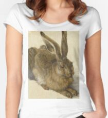 Albrecht Durer - Hare 1502. Young hare painting: cute hare,  hares,  rabbits,  animals,  bunnies,  realistic ,  wild,  animal,  rabbit,  wild animals,  fur  Women's Fitted Scoop T-Shirt